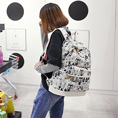 Bag Travel Owl Large for Black Young Pencil Capacity Backpack Case Package 3 Owl Set Bag Set Laptop Lash Pcs Teen White bag Shoulder Schoolbag Lightweight Printing Canvas Casual Backpacks Girls 6qywOf