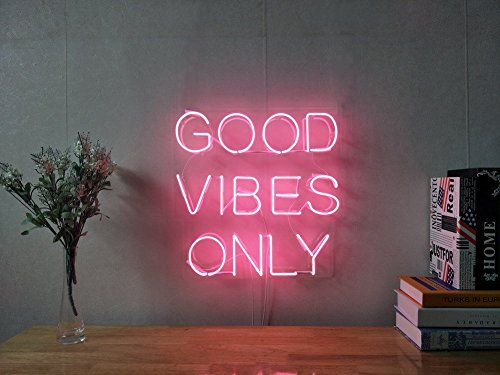 Good Vibes Only Real Glass Neon Sign For Bedroom Garage Bar Man Cave Room Home Decor Handmade Artwork Visual Art Dimmable Wall Lighting Includes Dimmer