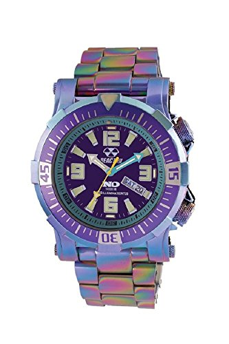 Reactor Poseidon Ionized LE Men's Analog Rainbow Link Watch Purple Dial with Extra Band 55999