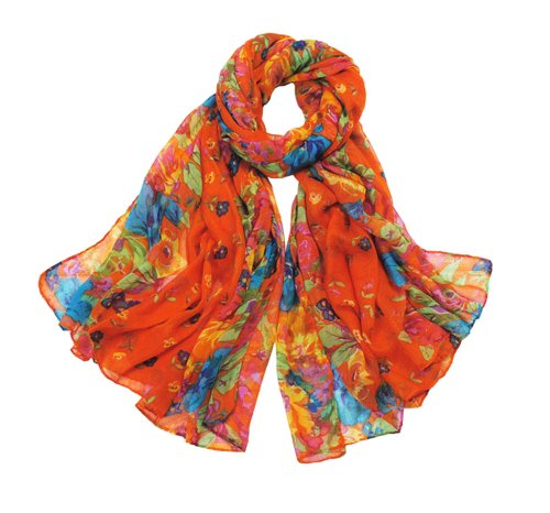 Promithi Lady Womens Colorful Floral Long Scarf Wraps Shawl Stole Soft Scarves