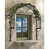Design Toscano Thornbury Ornamental Outdoor Garden Window Plant Trellis, 42 Inch, Metal, Black