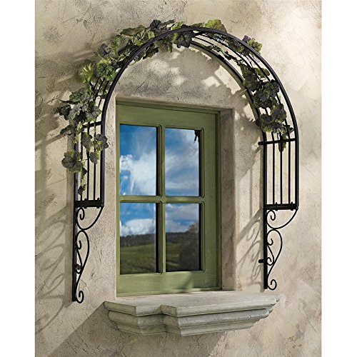 (Design Toscano Thornbury Ornamental Outdoor Garden Window Plant Trellis, 42 Inch, Metal, Black )