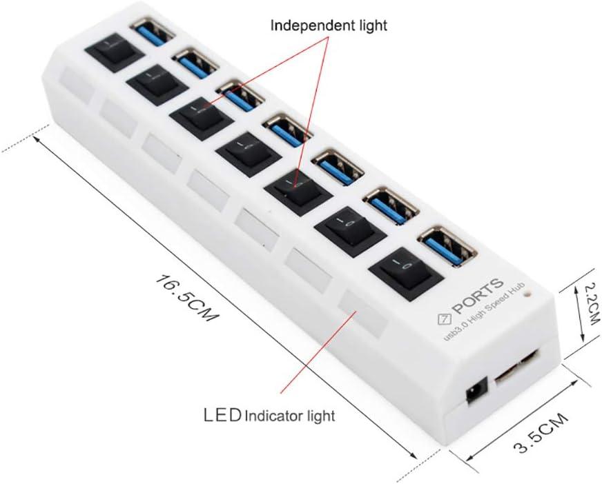 White Shentesel 7 Ports USB 3.0 Super Speed 5Gbps Hub Splitter External Power Adapter for PC