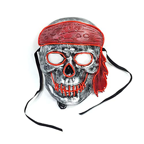 Clown Mask Glowing Creepy Mask, Halloween Costumes for Festival, Cosplay Party(Pink 21166cm/power Switch Button)