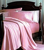 4-Piece QUEEN size, SOLID PINK Soft Silky Charmeuse Satin Sheet Set - Flat, Fitted and Pillow Cases. Deep Pockets