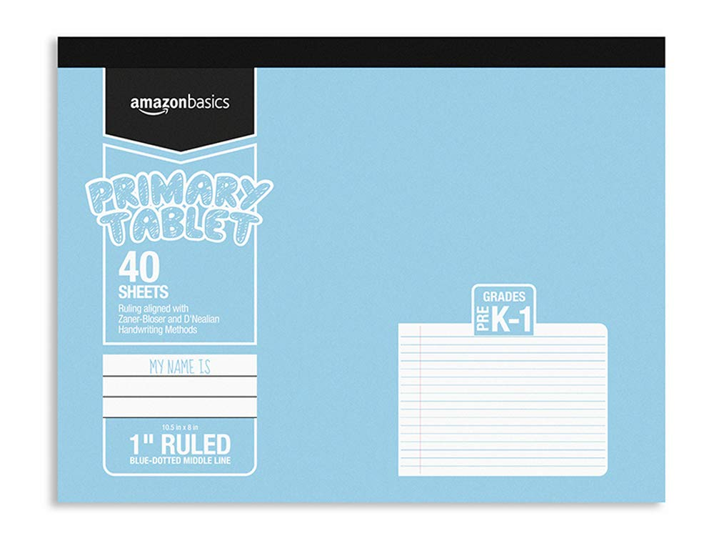 "AmazonBasics Primary Tablet 1"" Ruled, 40-Sheet, 10.5"" x 8"", 5-Pack"
