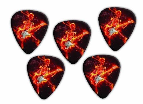 Flaming Skeleton Guitarist 5 X loose Guitar Picks ()