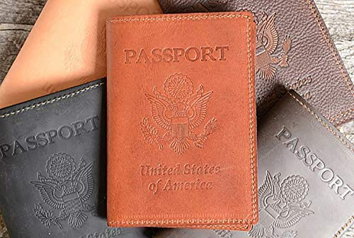 d37b017f5d227 Amazon.com: Personalized Leather Passport Holder with USA Stamp ...