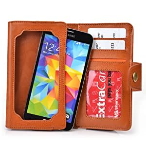 Caramel Brown Leather Phone Case with Credit Card Slots fits Huawei Ascend D1