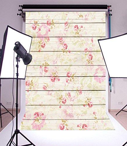 (Leowefowa 3x5FT Floral Backdrop Vinyl Photography Background Retro Flowers Pattern on Shabby Chic Texture Stripes Wood Plank Romantic Baby Kids Girls 1(W) x1.5(H) m Photo Studio)