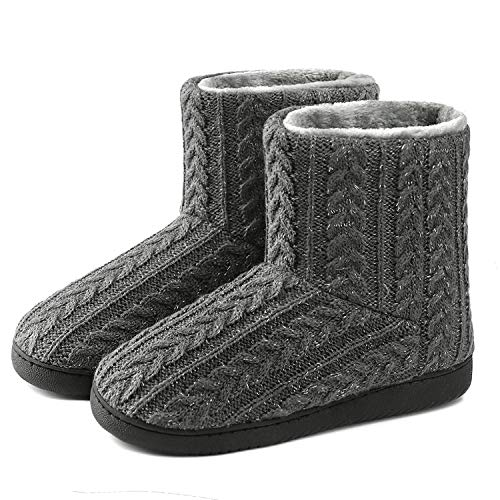 Neeseelily Women Plush Knit House Bootie Slippers Soft Cozy Indoor Outdoor House Shoes (8-8.5 B(M) US, Grey) ()
