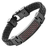 Mens Black Leather Red Carbon Fiber Bracelet Engraved I Love You in Gift Box By Willis Judd