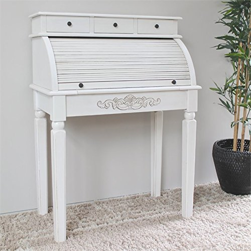 International Caravan 3920-AW-IC Furniture Piece Carved Wood Roll Top Desk White Roll Top Desk