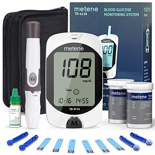 Metene TD-4116 Blood Glucose Monitor Kit, 100 Glucometer Strips, 100 Lancets, 1 Blood Sugar Monitor, 1 Lancing Device…