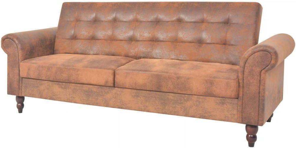 mewmewcat Sofá Cama Convertible con Reposabrazos de Ante Sintético Marrón Sofá: 196 x 85 x 82 cm