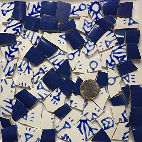 Broken China Mosaic Tile Art Supply for Crafts ~ Solid BlueTiles (T#A080)