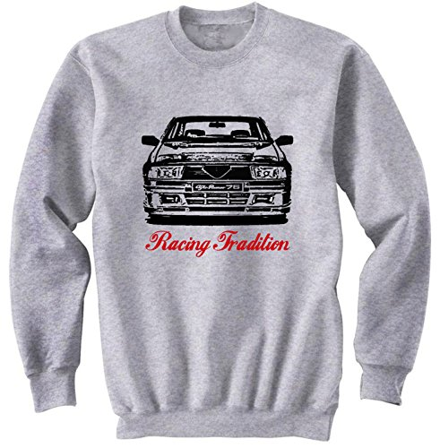 TEESANDENGINES Mens Alfa Romeo 75 Turbo Tradition 3 P Gris Sudadera Size Medium