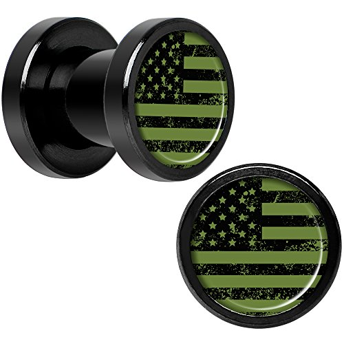 Body Candy Black Anodized Steel Green American Flag Screw Fit Ear Gauge Plug Set of 2 2 Gauge