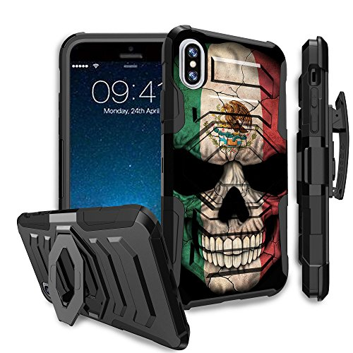 Untouchble Case for Apple iPhone X (2017) and iPhone Xs (2018) Holster Case [MAX Alpha Clip] Dual Layer Hybrid Belt Clip Kickstand Cover Case Protector Rugged - Mexico Skull Flag ()