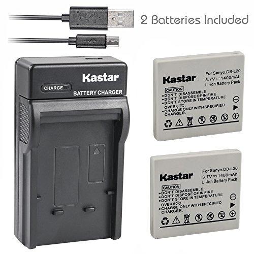 (Kastar Battery (X2) & Slim USB Charger for Sanyo DB-L20 and Sanyo VPC-C40, VPC-C5, VPC-C6, VPC-CA6, VPC-CA65, VPC-CA8, VPC-CA9, VPC-CG6, VPC-CG65, VPC-CG9, VPC-E1, VPC-E2, VPC-E6, VPC-E7, VPC-S7)