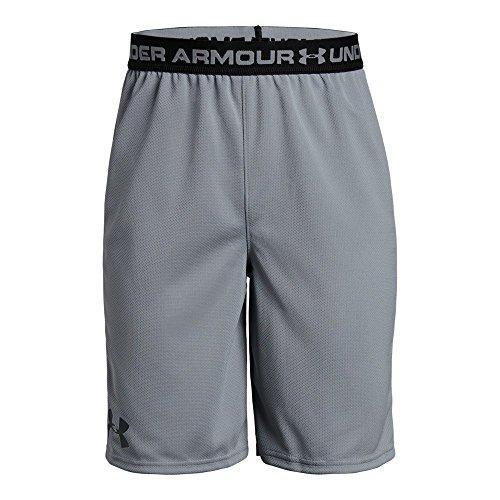 Under Armour Boys' Tech Prototype 2.0 Shorts, Steel /Black, Youth Medium (Shorts Athletic Boys Youth)