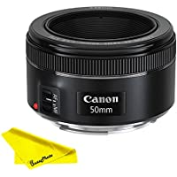 Canon EF 50mm f/1.8 STM Lens with BuzzPhoto Microfiber Cleaning Cloth