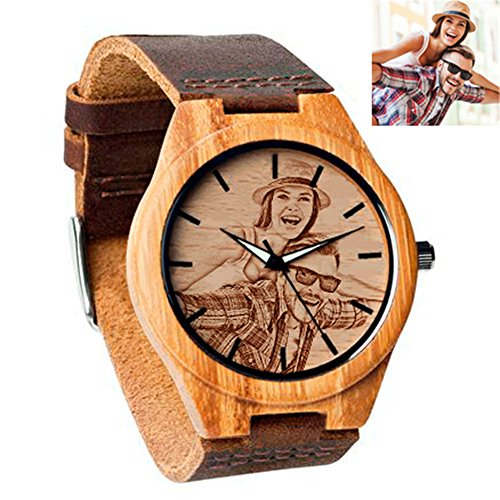 (Personalized Wrist Watch Bamboo Wooden Watch Custom Photo Engraved Watches for Women Men Personalized Men's Gifts Father's Day gift)