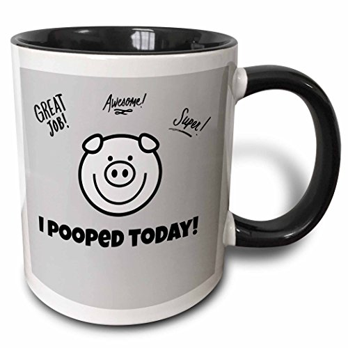 3dRose 178695_4 I I Pooped Today Piggie Two Tone Mug, 11 oz, -