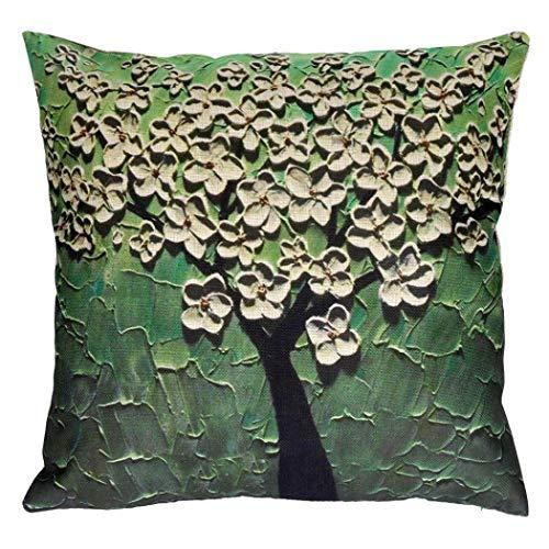 Sameno Pillow Case Sofa Flower Tree Waist Throw Cushion Cover Home Sofa Office Kitchen Patio Chair Cushion Cover Indoor Furniture Decor (Green) (And Patio White Green Covers Striped Furniture)