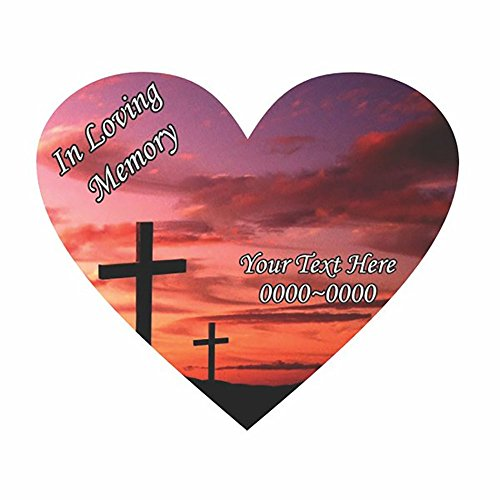 Custom Cross In Loving Memory Full Color Heart Car-Wall-Vinyl Decals Stickers, 8 Inches