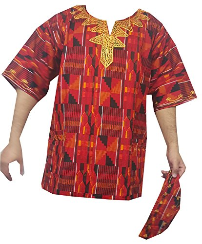 Unisex Kente Shirt Tribal Hippie African Clothing Dashiki Top with Hat One Size by Decoraapparel