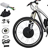 """Voilamart Electric Bicycle Kit 26"""" Front Wheel 48V 1000W E-Bike Conversion Kit, Cycling Hub Motor with Intelligent Controller and PAS System for Road Bike"""