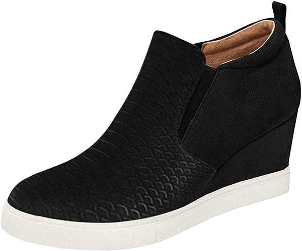 Women Color Hidden Wedge Platform High Heel Faux Leather Round Toe Bridal Shoes