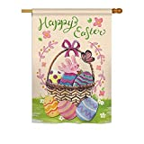 Cheap Breeze Decor H192018 Happy Easter Colorful Decorative Vertical Sleeve House Flag, 28″ x 40″, Multicolor