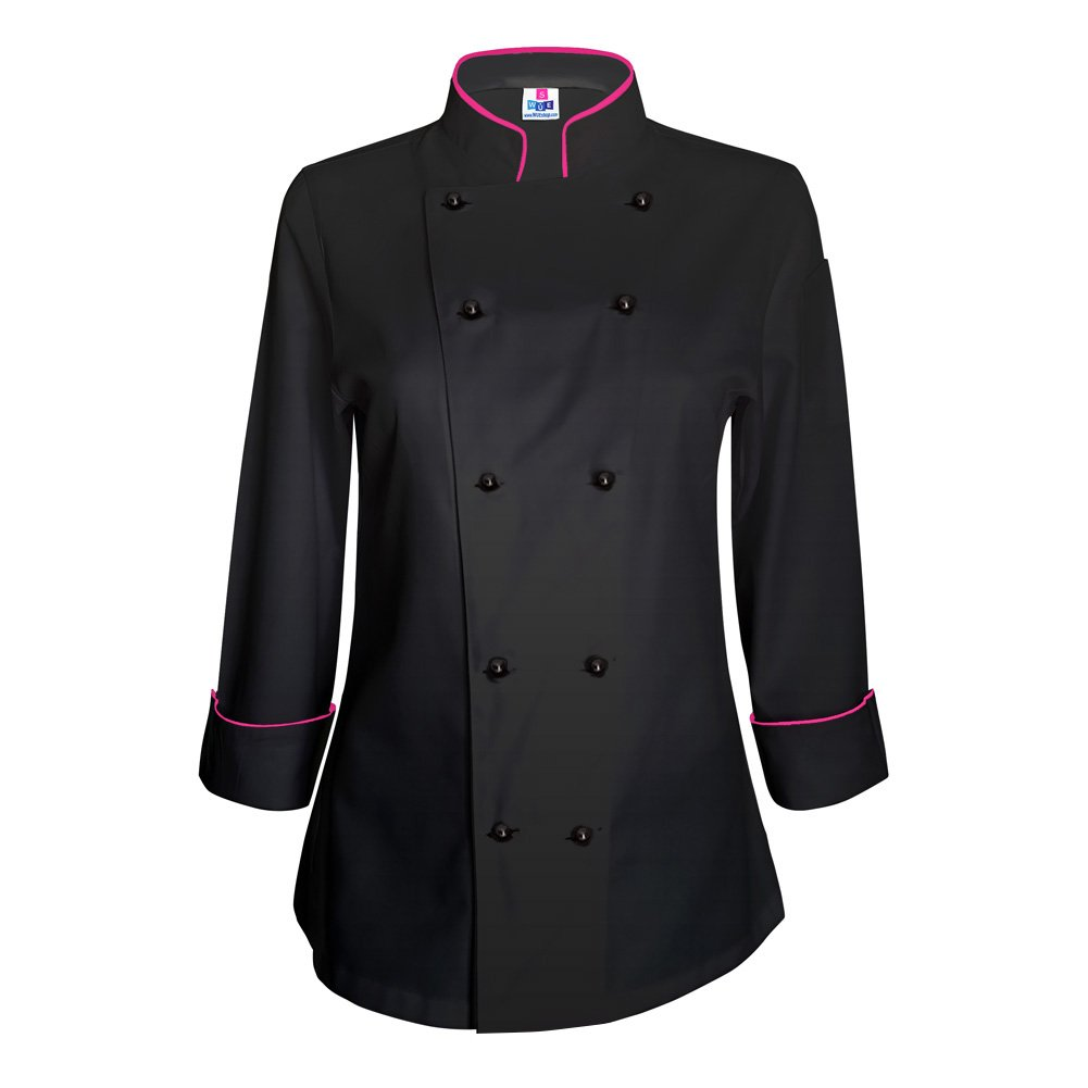 10oz apparel Long Sleeve Womens Black Chef Jacket with Hot Pink Piping XS