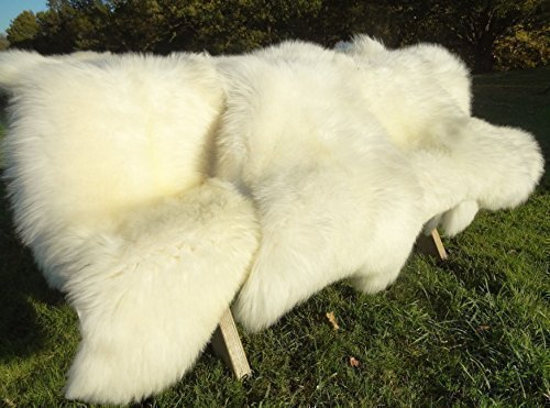 Sheepskin Large/Medium/Small European Orginal Rug Priority shipping Shipping from CA Ivory White Fur, Approx. 50