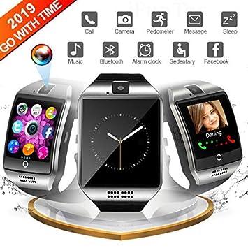 Montre Connectée pour Android, Bluetooth Smart Watch Etanche Montre Intelligente avec Caméra Montre Téléphone Sports