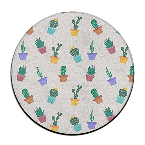 Waterproof Cactus Potted Plants Round Splash Splat Mat For Under High Chair Floor Protector Cover 23.6