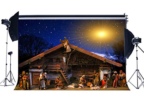 Gladbuy Birth of Jesus Backdrop 7X5FT Vinyl The Nativity Story Backdrops Rural Old Barn Sheepherder Holy Lights Xmas Photography Background for Christmas and Happy New Year Photo Studio Props EB24