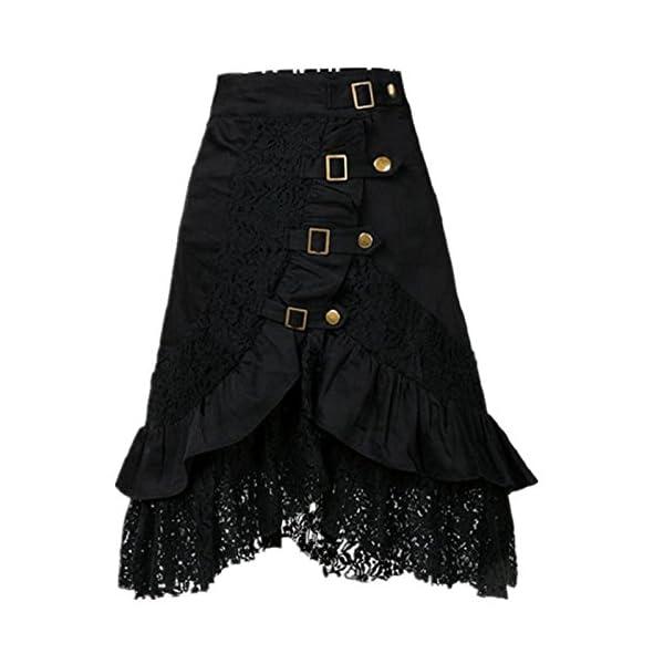 Yiluweinir Womens Black Steampunk Gothic Vintage Victorian Button lace Evening Party Skirt 3