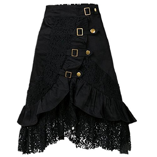 Yiluweinir Womens Black Steampunk Gothic Vintage Victorian Button Lace Evening Party Skirt