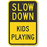 """SmartSign 3M Engineer Grade Reflective Sign, Legend""""Slow Down Kids Playing"""", 18"""" High X 12"""" Wide, Black on Yellow"""