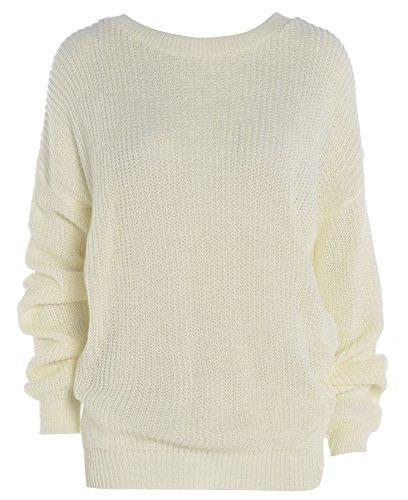 Purl Women's Plain Color Baggy Jumper Cream US 14-16
