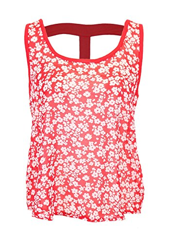 G2 Chic Women's Summer Floral Print Chiffon Tank Top with Cut Out Detail(TOP-CAS,REDA1-L)
