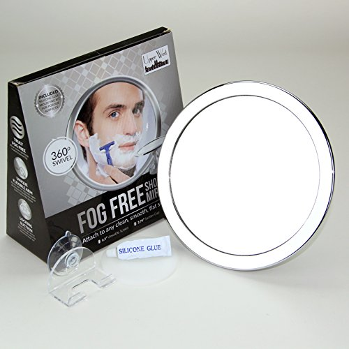 2x Magnification No Fog Shower Mirror with Rotating, Locking Suction | 6.5' Diameter Screen |...