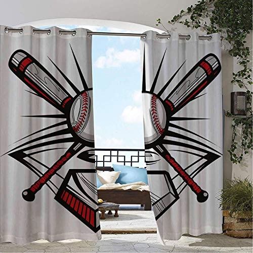 - Linhomedecor Outdoor Waterproof Curtain Boys Room Crossed Bats Ball Illustration Emblem Symbol Design Sports Icons Ru Grey Black pergola Grommet Printed Curtain 72 by 72 inch