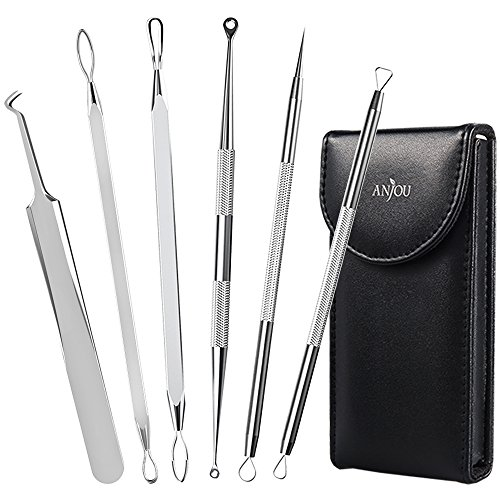 Anjou Blackhead Remover Comedone Extractor, Curved Blackhead Tweezers Kit, 6-in-1 Professional Stainless Pimple Acne Blemish Removal Tools Set, Silver ()
