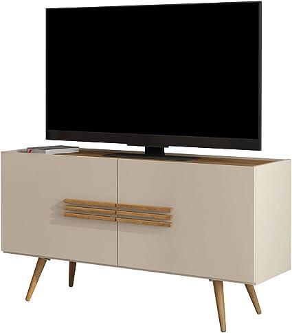 Soporte de TV escandinavo pequeño para TV de 50 Pulgadas en Color Blanco Hueso, diseño Vintage, Muebles de Dormitorio: Amazon.es: Hogar
