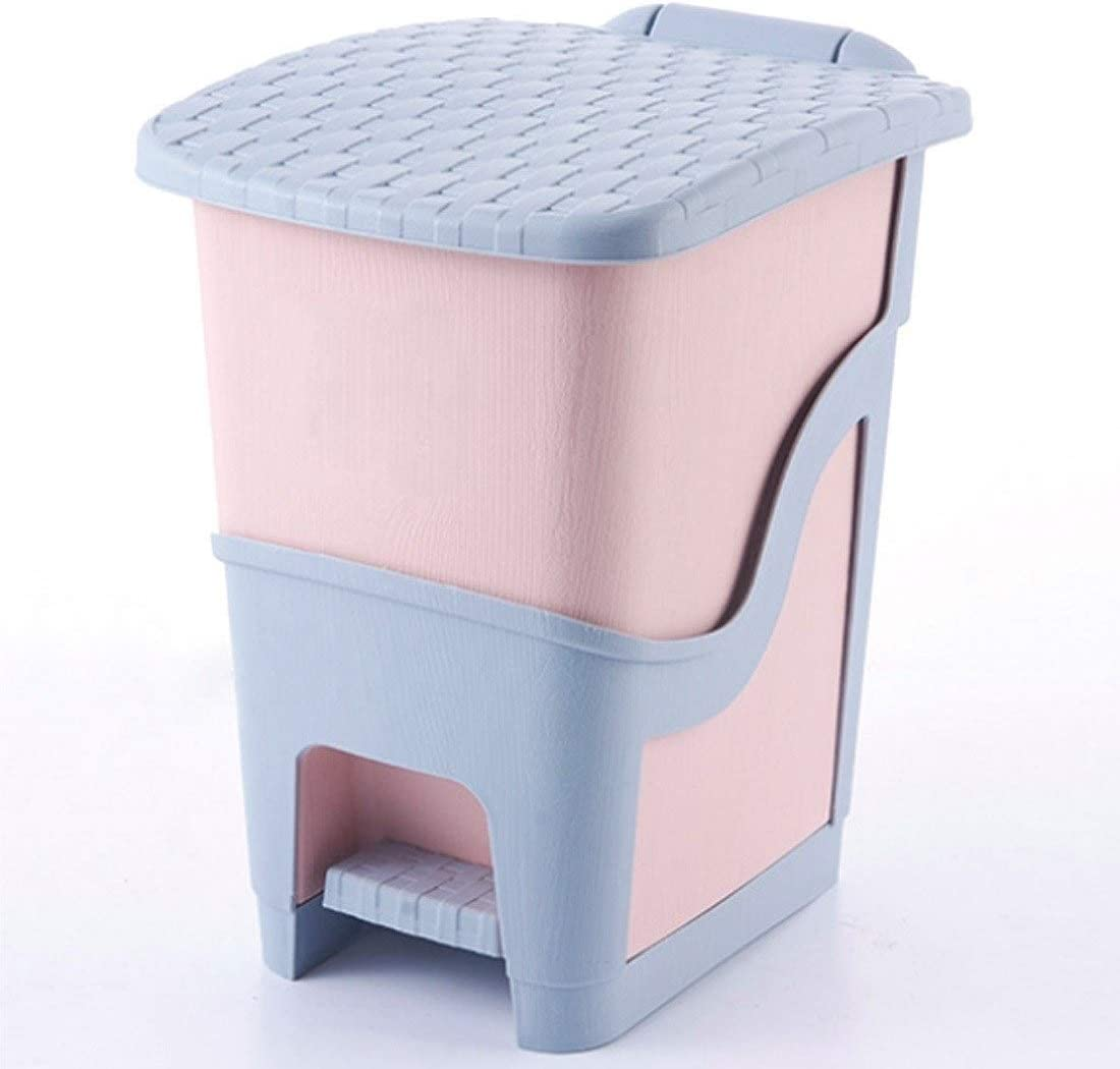 Color : Blue Trash Can Plastic Foot Pedal Type Waste Bin Trash Can for Home Office with Containers Covers Kitchen Portable Garbage Bin Trash Bin