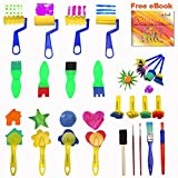 Paint Brushes for Kids Acrylic Watercolor Artist Paint Texture Brushes 25pcs A Set - Early Learning Graffiti Paint Toy Foam Paint Brush Fun Sponge Foam Shaped - eBook Guided Drawing Steps